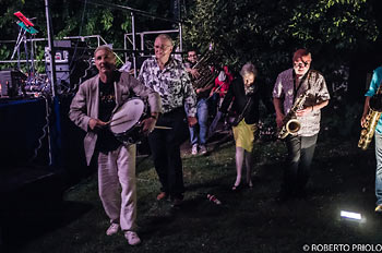 Dancing off after the gig L to R Ferdinando Faraò,  Mike Westbrook, Andrea Baronchelli tuba,  Carlo Nicita flute, Kate Westbrook, Pete Whyman - photo Roberto Priolo