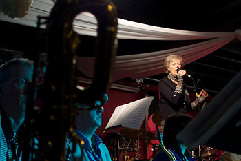 Kate Westbrook + Ian Wellens & Gary Bayley (in blue) - Mike Westbrook Big Band - Rossini Re-loaded - - Photo: Martin Smith