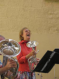 village band: mike westbrook - (behind the) euphonium kate westbrook - tenor horn/vocals : (photo: frank eichler)