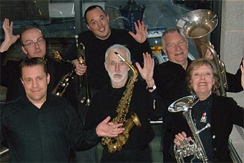 village band: mike westbrook - euphonium : kate westbrook - tenor horn/vocals  sam smith - trombone : stan willis - alto sax : gary bayley - tenor sax mike brewer - trumpet